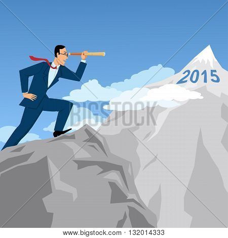 Business forecasting and planning. Businessman on top of the mountain looking at the next mountaintop through a spyglass, vector illustration
