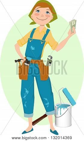 Save money on renovation. Smiling cartoon woman in overalls, with construction tools
