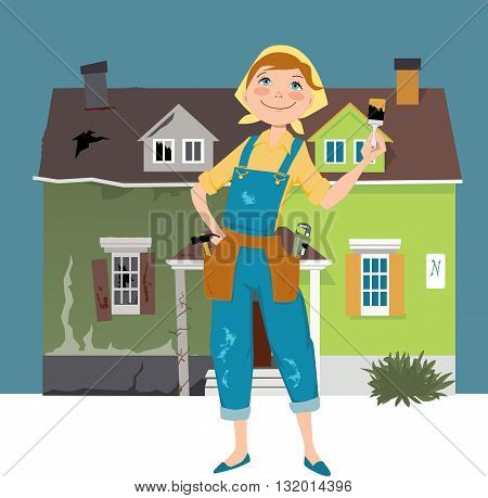 Flipping a house. Cartoon woman in overalls, with construction tools standing in front of a house divided into before and after renovation parts poster