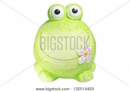 Ceramic green frog on a white background handmade piggy bank