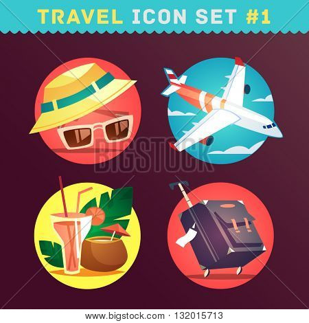 Travel and tourism icon set. Vector illustration.