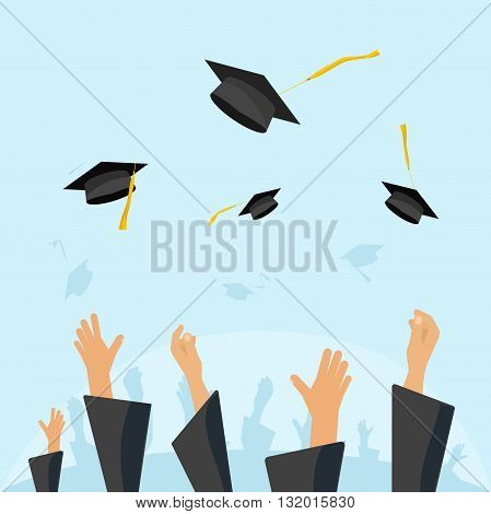 Graduating students of pupil hands in gown throwing graduation caps in the air flying academic hats throw mortar boards in the sky flat cartoon vector illustration design isolated on blue background