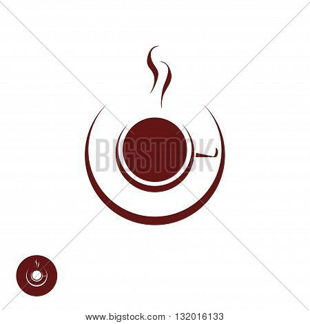 Coffee shop logo template natural abstract coffee cup with steam coffee house emblem creative cafe logotype modern trendy symbol design vector illustration isolated on white background sign