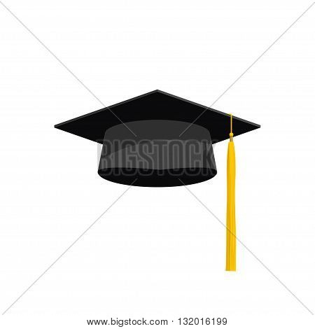 Graduation cap vector illustration graduation hat icon academy hat symbol flat simple cartoon design with shadow and yellow tassel isolated on white background