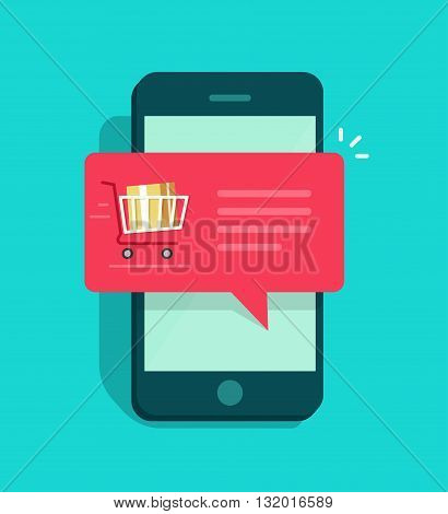 Mobile phone with shopping cart full red speech bubble vector illustration online ordering notification concept ecommerce order delivery service modern flat icon design isolated on blue background