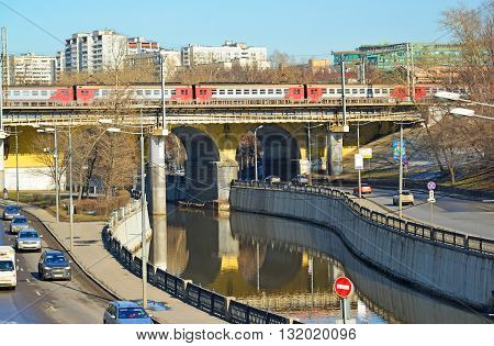 Moscow, Russia - March 10. 2016. Andronicus viaduct over the River Yauza