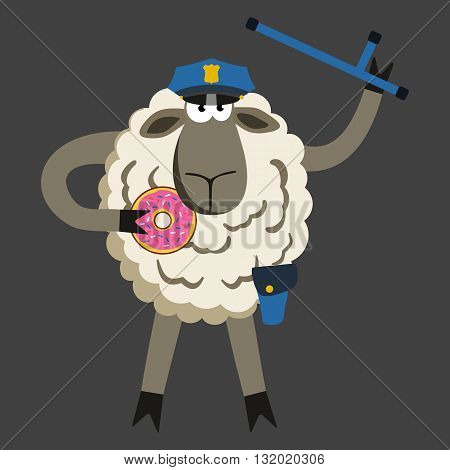 Stubborn Lamb Policeman with Donut. Sheep professional character. Vector illustration of stubborn police isolated on black background.