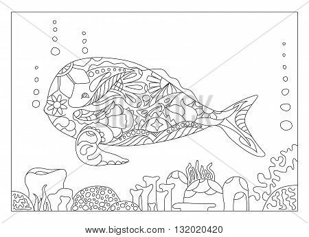 Whale and corals coloring page coloring page whale sea theme coloring page with whale and coral high detailed adult coloring whale adult coloring book page whale mandala style whale for coloring