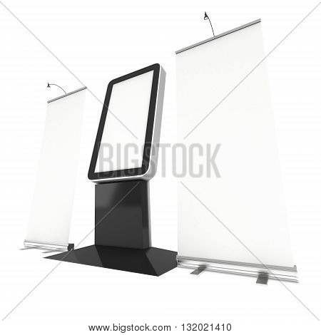 LCD Screen Floor Stand with Roll-Up. Blank Trade Show Booth. 3d render of lcd screen isolated on white background. High Resolution Floor Stand. Ad template for your expo design.