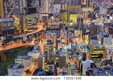 Osaka, Japan cityscape aerial view in the Umeda District.