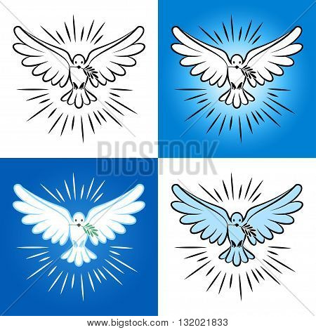 Set of silhouette of a flying dove with olive branch. White dove bird dove white pigeon doodle. Vector illustration