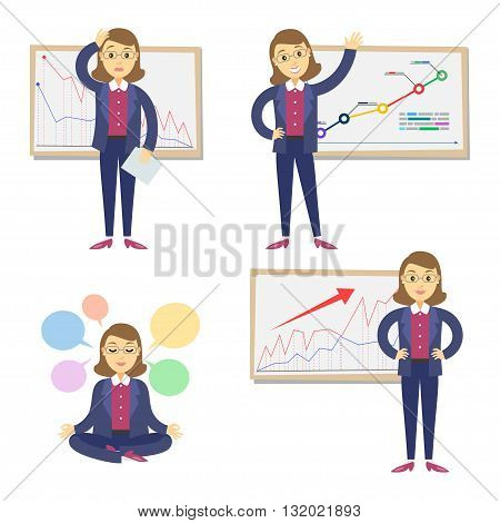 Set of businesswomen on the background of the graph. Cartoon businesswomen and graph. Concept of success and failing in business.Vector