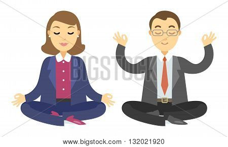 Two businessmen doing meditation. Man and woman doing yoga meditation or relaxing. Vector cartoon illustration