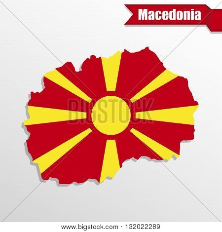 Macedonia map with flag inside and ribbon