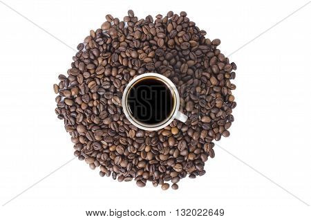the tasty scalded coffee on grain is isolated on a white background