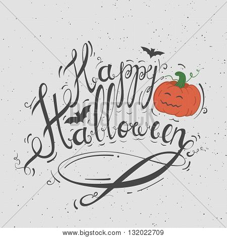 Stock handwritten Happy Halloween. Retro poster for a party