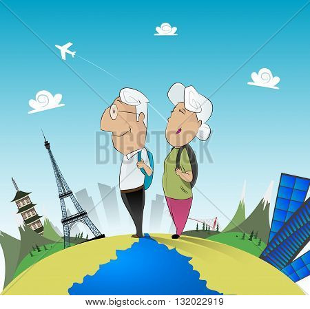 Senior couple travel around the world. Vacation, travel, cruise, fun concept illustration. Vector