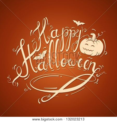 Happy Halloween Stock inscription on a bright orange background with pumpkin