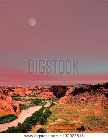 Moonrise Canyon de Chelly Navajo indian reservation northern Arizona