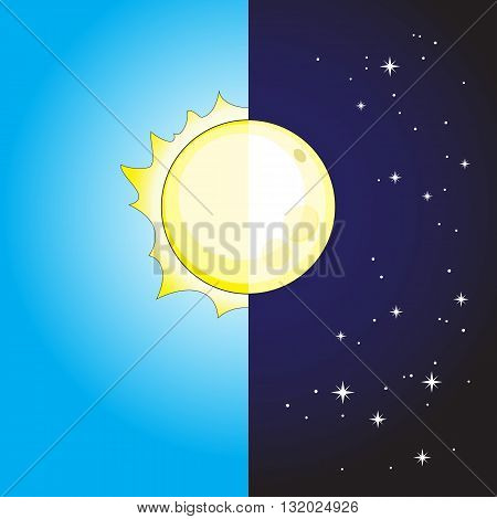 The stylized image of the day and night sun and moon. Vector illustration.