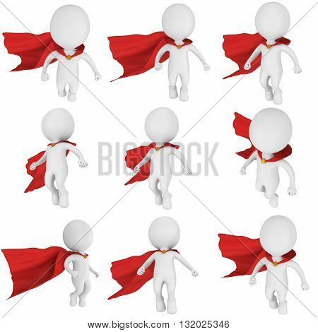 Man brave superhero with red cloak fly above set. Isolated on white 3d render. Flying power freedom concept collection.