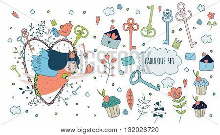 Cute magic collection with princess, unicorn, rainbow, dragon, fairy wings. Dream Spring illustration of cute animals and flowers. Fairytale design for your love card, invitation, children or wedding DIY.Vector isolated  illustration on white. poster