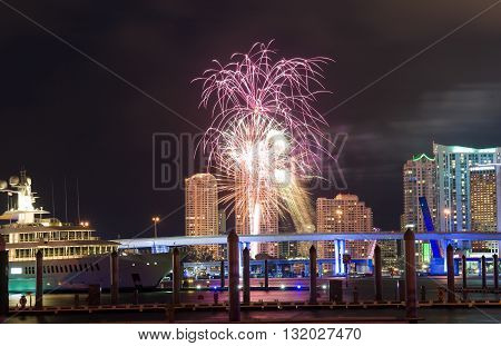 MIAMI, FLORIDA, USA - May 01, 2016: Fireworks over the skyline from Miami as seen from Watson Island