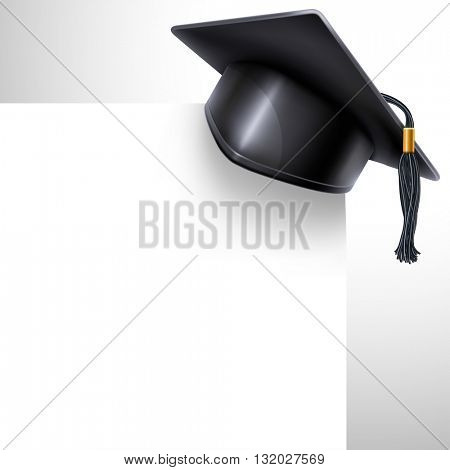 Black graduation cap with black and gold tassel and white paper sheet. Graduation concept. Back to school design. There is a place for your text. Vector illustration.