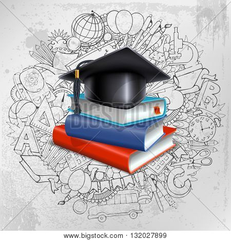 Black graduation cap and stack of books on doodle hand drawn background with different school objects. Back to school concept. Congratulation Graduation. Vector illustration.