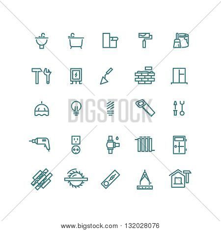 Home repair outline vector icons. Repair home icon, house repair icon, construction home icon, repair equipment icon illustration