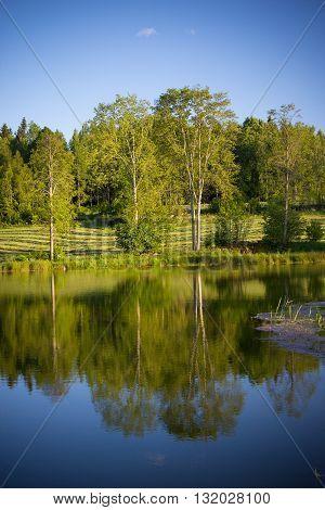 beautiful lake landscape in sothern Sweden, springtime