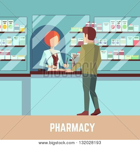 Pharmacy drugstore with pharmacist and customer. Health care concept vector background. Retail pharmacy, drugstore pharmacist, customer pharmacy, professional pharmacy illustration