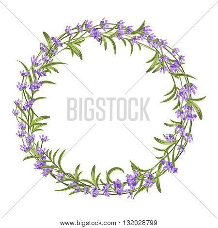Lavender wreath. Vector illustration for decorations. Frame floral lavender, lavender frame invitation, nature flower lavender wreath