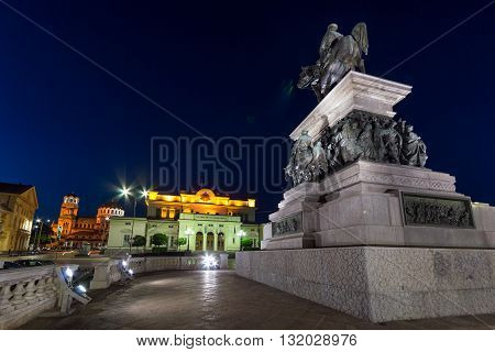 Monument to the Tsar Liberator, National Assembly and Alexander Nevsky Cathedral in city of Sofia, Bulgaria