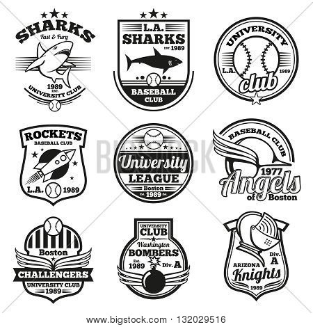 College athletic vector labels, logos, badges and emblems set. T-shirt design. Label t-shirt, badge t-shirt, emblem college t-shirt, logo print sport team illustration