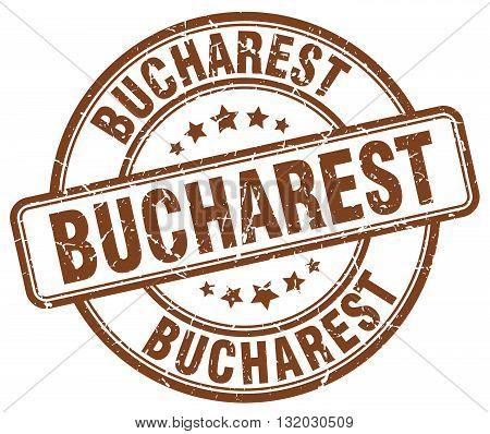 Bucharest brown grunge round vintage rubber stamp.Bucharest stamp.Bucharest round stamp.Bucharest grunge stamp.Bucharest.Bucharest vintage stamp.
