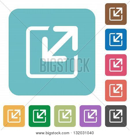 Flat resize window icons on rounded square color backgrounds.