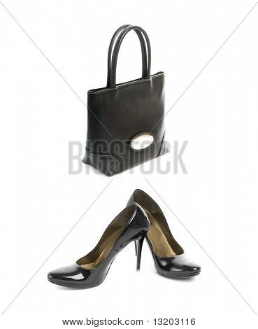 Kit of two items, sexy shoes with high heel and elegant black leather handbag