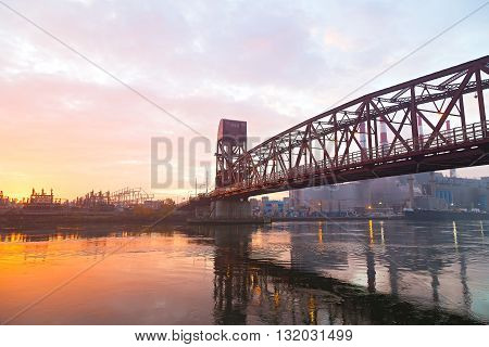 The early morning in New York City. View of Roosevelt Island Bridge and Queens from Roosevelt Island.