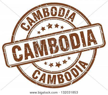 Cambodia brown grunge round vintage rubber stamp.Cambodia stamp.Cambodia round stamp.Cambodia grunge stamp.Cambodia.Cambodia vintage stamp.