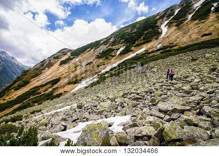 People On Mountain Track In Polish Tatra Mountains