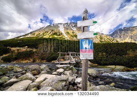 Avalanche Warning Sign In Polish Tatra