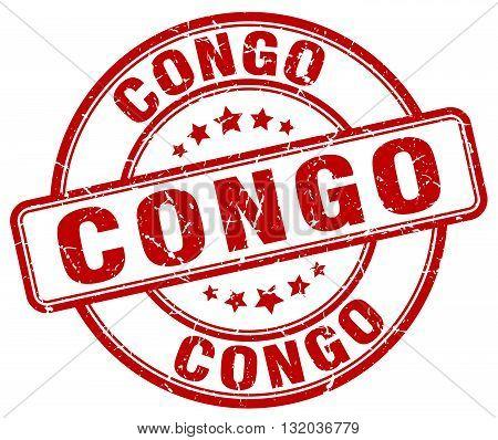 Congo red grunge round vintage rubber stamp.Congo stamp.Congo round stamp.Congo grunge stamp.Congo.Congo vintage stamp.