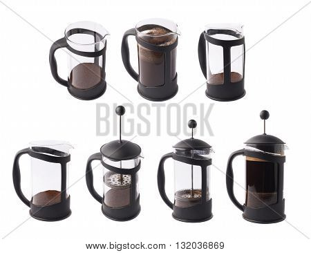 French press pot coffee maker isolated over the white background, set of multiple different foreshortenings