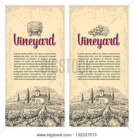Rural landscape with villa vineyard fields and hills. Vector engraving drawn vintage illustration. Old paper beige texture background. For label poster vertical banner.