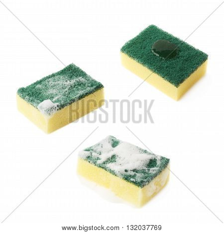 Three stages of the cleaning kitchen dish washing sponge, with the detergent cleanser applied and covered with foam, isolated over the white background, set of three different foreshortenings
