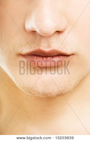 Close-up shot of a part of man's face