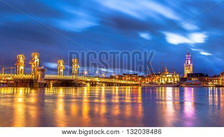 Kampen City Overijssel At Sunset