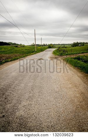 dramatic country road St-Alban Quebec Canada vertical