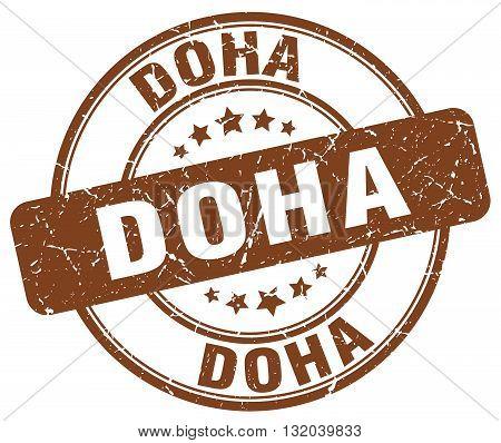 Doha brown grunge round vintage rubber stamp.Doha stamp.Doha round stamp.Doha grunge stamp.Doha.Doha vintage stamp.